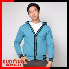 Gudang Fashion - Cardigan Panjang Polos Pria - Biru Muda