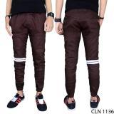 Spek Gudang Fashion Celana Jogger Striped Coklat Tua