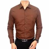 Beli Gudang Fashion Formal Male Shirts Cokelat Tua Nyicil