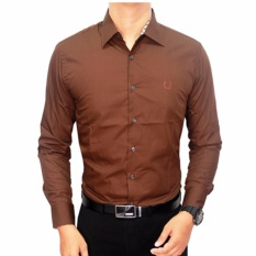 Beli Gudang Fashion Formal Male Shirts Cokelat Tua Lengkap