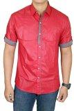 Jual Gudang Fashion Hem Lengan Pendek Slim Fit Merah Indonesia Murah