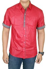 Jual Gudang Fashion Hem Lengan Pendek Slim Fit Merah Gudang Fashion Original
