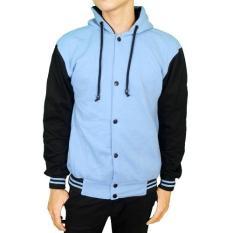Harga Gudang Fashion Jaket Fleece Casual Biru Muda Baru Murah