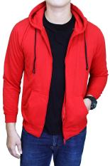 Harga Gudang Fashion Jaket Fleece Polos Merah Fullset Murah