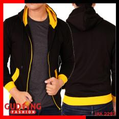 Diskon Gudang Fashion Jaket Fleece Pria Hitam Kuning Banten
