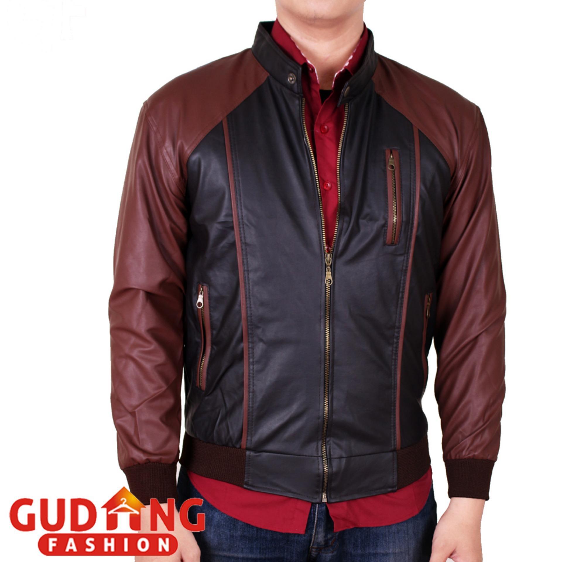 Pencarian Termurah Gudang Fashion - Jaket Kulit Oscar Kombinasi Pria - Hitam  Kombinasi Coklat Tua harga 64268e59be