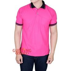 Gudang Fashion - Kaos Berkerah Lengan Pendek - Pink Fanta Kerah Hitam