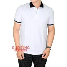 Gudang Fashion - Kaos Berkerah Polos Depan Belakang - Putih Kerah Hitam