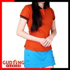 Gudang Fashion - Kaos Berkerah Wanita Lengan Pendek - Coklat Bata Kerah Merah
