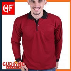 Gudang Fashion Kaos Kerah Panjang Pria Merah Maroon Kerah Hitam Gudang Fashion Diskon 50