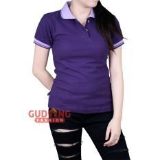 Spesifikasi Gudang Fashion Kaos Kerah Polo Shirt Basic Wanita Ungu Tua Online