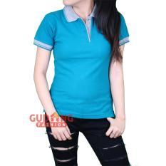 Gudang Fashion - Kaos Kerah Polos Pendek Wanita - Biru Tosca Kerah Abu