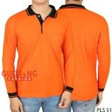 Harga Gudang Fashion Kaos Lengan Panjang Berkerah Orange Kerah Hitam Satu Set