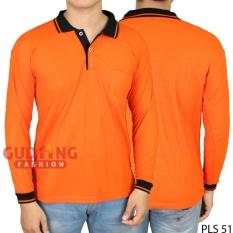 Gudang Fashion - Kaos Lengan Panjang Berkerah - Orange Kerah Hitam