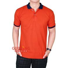 Gudang Fashion - Kaos Lengan Pendek Berkerah Pria - Orange Kerah Dongker