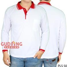 Ulasan Gudang Fashion Kaos Panjang Polo Pria Putih Kerah Merah