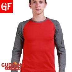 Jual Beli Gudang Fashion Kaos Panjang Pria Smart Casual Merah Banten