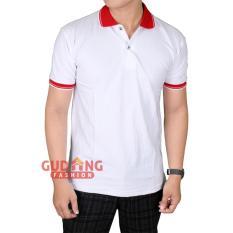 Gudang Fashion - Kaos Pendek Berkerah Pria - Putih Kerah Merah