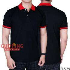 Beli Gudang Fashion Kaos Pendek Polos Berkerah Hitam Kerah Merah Banten