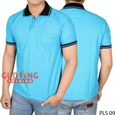 Gudang Fashion - Kaos Pendek Pria Polo - Biru Turkis Kerah Hitam