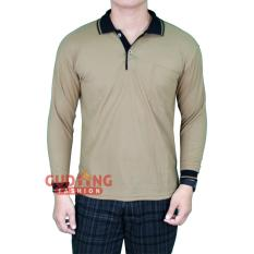 Harga Gudang Fashion Kaos Polo Berkerah Terbaru Lengan Panjang Coklat Caramel Kerah Hitam Gudang Fashion Original