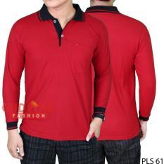 Beli Gudang Fashion Kaos Polo Kerah Lengan Panjang Merah Kerah Hitam Cicilan