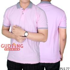 Spesifikasi Gudang Fashion Kaos Polo Keren Simple Pink Muda Kerah Abu Murah Berkualitas