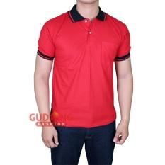 Gudang Fashion - Kaos Polo Polos Berkerah Lengan Pendek - Merah Kerah Hitam