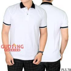 Gudang Fashion - Kaos Polo Polos Depan Belakang - Putih Kerah Hitam