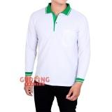 Harga Termurah Gudang Fashion Kaos Polo Pria Panjang Putih Kerah Hijau