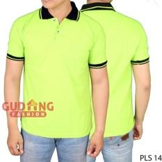 Gudang Fashion - Kaos Polo Shirt Pria - Hijau Stabilo Kerah Hitam