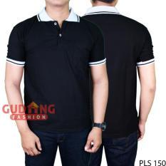 Gudang Fashion - Kaos Polo T-Shirts Pendek - Hitam Kerah Putih