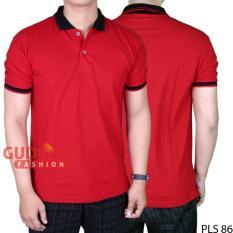 Toko Gudang Fashion Kaos Polo Terbaru Pria Merah Kerah Hitam Terlengkap Banten