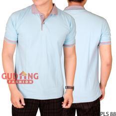 Harga Gudang Fashion Kaos Polos Lengan Pendek Kerah Polo Biru Buble Abu New