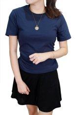 Spesifikasi Gudang Fashion Kaos Polos Pendek Wanita O Neck Biru Navy Yang Bagus