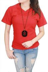Jual Gudang Fashion Kaos Polos Pendek Wanita V Neck Merah Branded