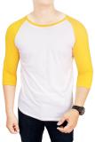 Jual Gudang Fashion Kaos Polos Raglan Cotton Combed S20 Putih Emas Ori