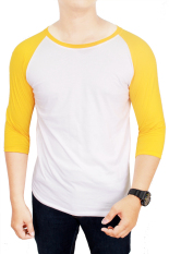 Harga Gudang Fashion Kaos Polos Raglan Cotton Combed S20 Putih Emas Lengkap