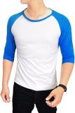 Dimana Beli Gudang Fashion Kaos Polos Raglan Pria Kombinasi Putih Biru Gudang Fashion