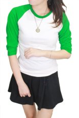 Beli Gudang Fashion Kaos Polos Raglan Wanita Kombinasi Putih Hijau Online Murah