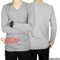 Gudang Fashion - Kaos Pria Lengan Panjang Bagus - Abu Muda