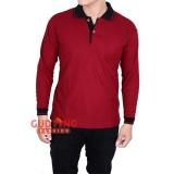 Beli Gudang Fashion Kaos Pria Lengan Panjang Berkerah Merah Marron Kerah Hitam Pakai Kartu Kredit