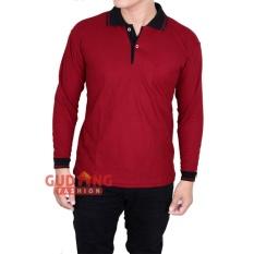 Harga Gudang Fashion Kaos Pria Lengan Panjang Berkerah Merah Marron Kerah Hitam Yang Murah