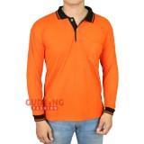 Harga Gudang Fashion Kaos Pria Polos Kerah Lengan Panjang Orange Kerah Hitam Lengkap