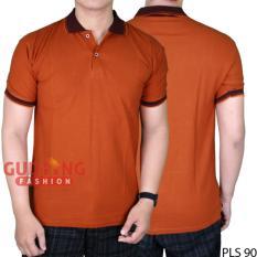 Gudang Fashion - Kaos Pria Polos Kerah Polo Lengan Pendek  - Merah Bata Kerah Hitam