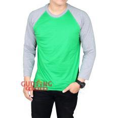 Gudang Fashion - Kaos Pria Raglan Panjang Polos - Hijau Fuji Lengan Abu
