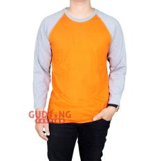 Gudang Fashion - Kaos Pria Raglan Panjang Polos  - Orange Lengan Abu