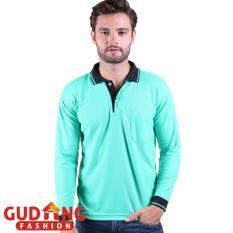 Gudang Fashion - Kaos Pria Simple Elegan Pria - Tosca Muda Kerah Hitam