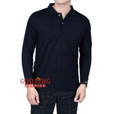 Gudang Fashion - Kaos Pria Terbaru Berkerah - Hitam Polos
