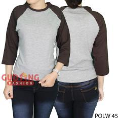 Beli Gudang Fashion Kaos Raglan Casual Santai Wanita Misty Coklat Online Banten